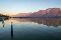 Panorama of Iseo lake at sunset