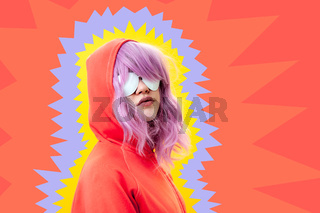 Art collage with alternative funky girl with pink hair on bright blue yellow pink background. Close up fashion portrait young beautiful woman in hoodie and white glasses. Unusual youth fashion concept