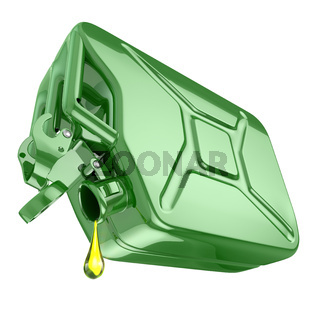 One last drop of fuel from jerrycan. Engine oil and green canister isolated on white background.