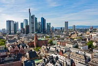 Skyline of Frankfurt with skyscrapers