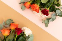 White, red and orange roses on pink and orange background