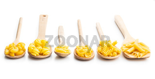 Various types of raw italian pasta  in wooden spoons