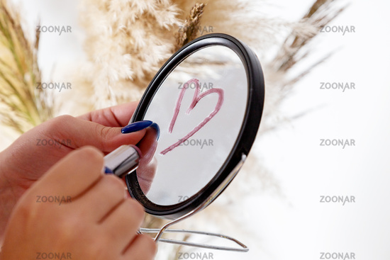Different item for Beautiful makeup. Cosmetic, mirror and flower
