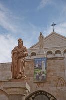 A statue of Saint Hieronymus outside The Church of the Nativity which is a basilica located in the West Bank of Bethlehem