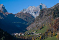 Autumn morning alpine Dolomites mountain scene, Belluno, Sudtirol, Italy.