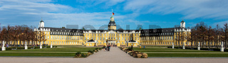 Wide Panorama of Castle Karlsruhe with Garden Square. In District Karlsruhe, Baden-Württemberg, Germany
