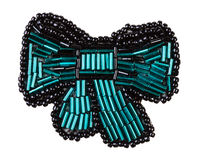 bow tie brooch from green bugles and black beads