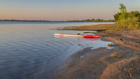 Long racing stand up paddleboard  in Boyd Lake State Park