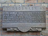Memorial plaque for victims anti-Semitic terrorist attack synagogue Halle Yom Kippur 5780 9.10.2019
