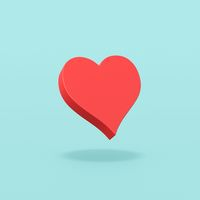 Red Heart Symbol Shape on Blue Background