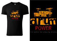Black T-shirt with Drums and Inscriptions