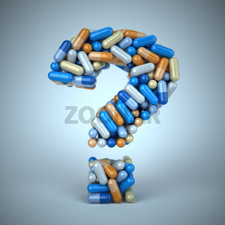 Pills or capsules as a question mark on blue background