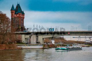 Binnenvaart, Translation Inlandshipping on the river rhein Gas tanker vessel Rhine Germany oil and gas transport.