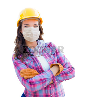 Female Contractor In Hard Hat Wearing Medical Face Mask During Coronavirus Pandemic Isolated on White