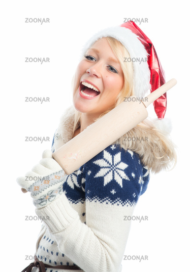 christmas woman with rolling pin
