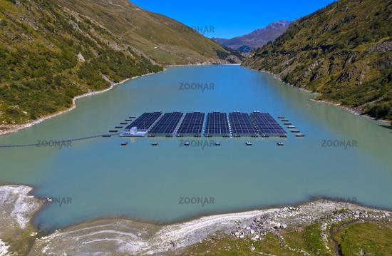 First high altitude floating solar power plant in Switzerland, Bourg-Saint-Pierre,Valais,Switzerland