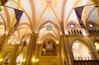 Interior of Matthias Church is a Roman Catholic church in Budapest, Hungary.