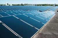 Photovoltaic panels on solar rooftop power plant -