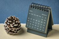 January 2021- spiral desktop calendar