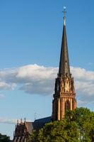 Historic church tower in Frankfurt