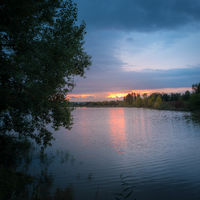 Sunset on a small lake in Burgenland