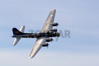 Memphis Belle Boeing B 17 Bomber Flying over Shoreham Airfield