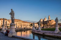 padua, italy - 19.03.2019 - prato della valle in padua with basilica of st. Justina in the backgroun
