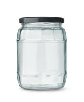 Front view of empty glass jar with black metal cap