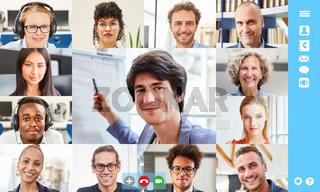 Online Videokonferenz Meeting von Business Team