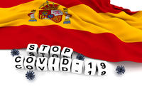 Spain flag and text stop covid-19.