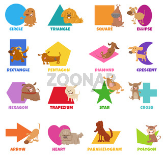 geometric shapes with funny dogs characters set