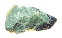 unpolished Teisky Jade (Hantigyrite) rock isolated