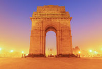 India Gate in yellow evening lights, New Dehli