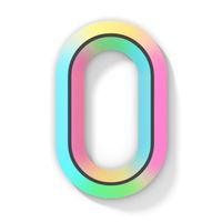 Neon color bright font Letter O 3D