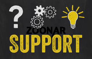 Question Mark, Gears, Light Bulb Concept - Support