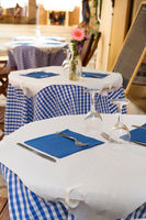 French blue terrace tables