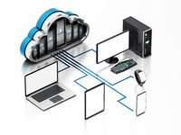 Smart devices connected to the cloud shaped servers. Cloud computing diagram. 3D illustration