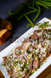 Delicious cold beef with vinaigrette
