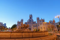 Madrid Spain, sunrise city skyline at Cibeles Fountain Town Square