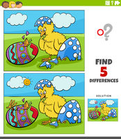 differences educational game for kids with Easter chicks