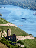 View over the ruins of Ehrenfels on the Rhine at the port of Bingen