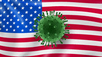 Molecule of Coronavirus on the background of American flag.