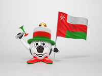 Soccer character fan supporting Oman