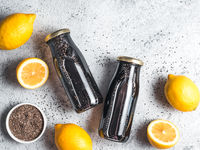 Detox activated charcoal black chia lemon water