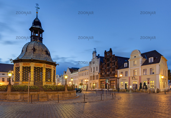 Waterworks at the market, Wismar, Germany