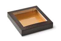 Brown paper gift box with window