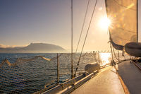 Sunny Weather on the Deck of a Sailing Yacht