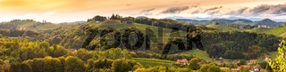 Vineyards panorama in South Styria, beginning of autumn.