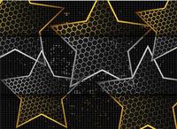 Gold abstract stars on dark background. Gold glitter star. Black design element. Modern template design. Glitter abstract golden luxury pattern