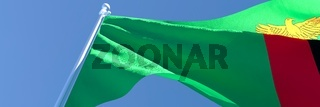 3D rendering of the national flag of Zambia waving in the wind
